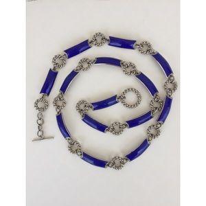 Vintage Gucci Silver Tone Chain Belt  Blue Enamel